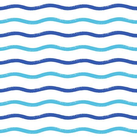 rough sea: Wavy brush stripes vector seamless pattern