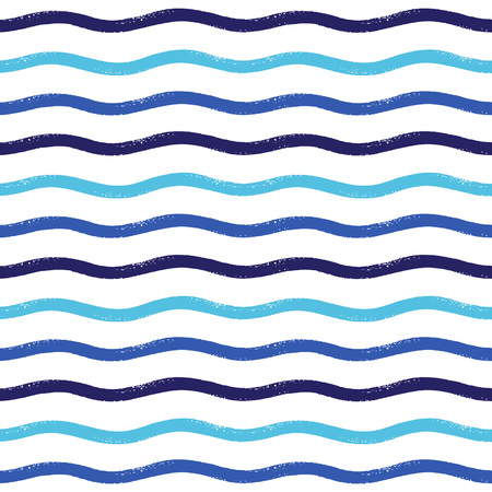 curved line: Wavy brush stripes vector seamless pattern
