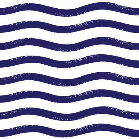 curved lines: Wavy brush stripes vector seamless pattern
