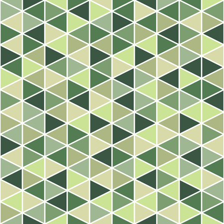 Geometrical seamless vector pattern background. Triangles with white stroke. Green colors.