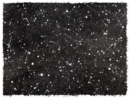 trek: Black and white hand drawn watercolor night sky. Rough, artistic edges.