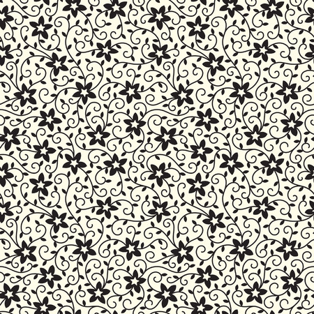 Black and white floral vector seamless pattern with five-pointed flowers, tendrils and leaves.