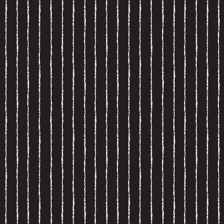 Brush stripes vector seamless pattern. Thin white stripes on black backdrop. Striped monochrome background.