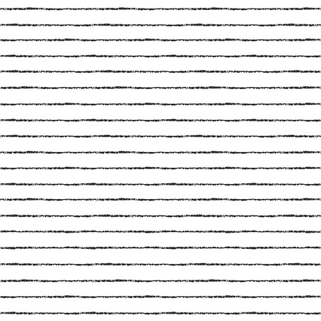 Brush stripes vector seamless pattern. Thin black stripes on white backdrop. Striped monochrome background. Vettoriali