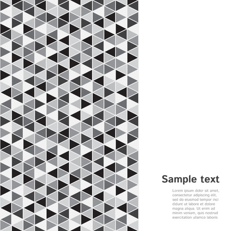 od: Monochrome geometrical triangle backdrop with space for text. Vertical seamless border made od triangles mosaic.