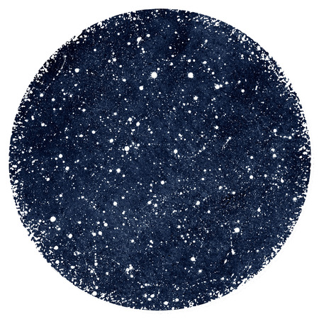 sputter: Dark blue hand drawn watercolor night sky with stars. Splash texture. Circle form with rough, artistic edges. Stock Photo