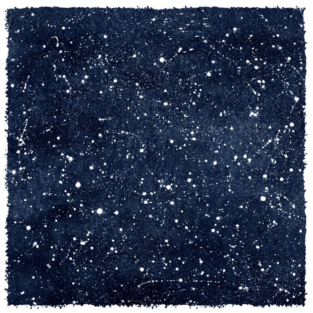 trek: Dark blue hand drawn watercolor night sky with stars. Rough, artistic edges. Splash texture.
