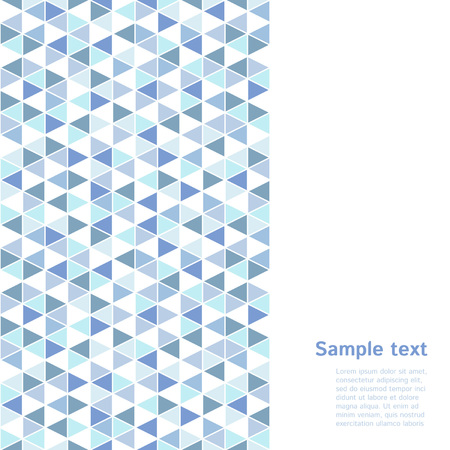 od: Light blue and white geometrical triangle backdrop with space for text. Vertical seamless border made od triangles mosaic. Cold, winter, water colors. Triangles with white stroke