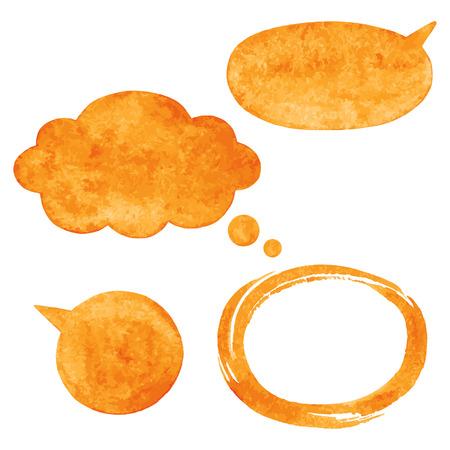 ovalo: Las burbujas del discurso acuarela vector Orange, nube y cepillo ovalado marco golpe con bordes ásperos artísticas