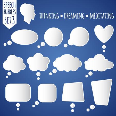 soñando: Colección de blancos globos de texto vector. Set 3 - pensar, soñar, meditar. Con pensando silueta de la cabeza.