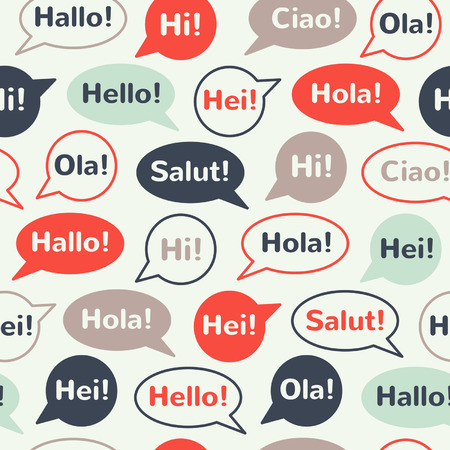 Speech bubbles with greetings in different languages: english, french, german, italian, spanish, norwegian, danish. Colorful seamless vector pattern. Flat design.