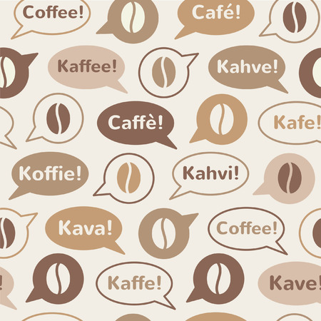 Coffee seamless vector pattern. Speech bubbles with word coffee in different languages. 向量圖像