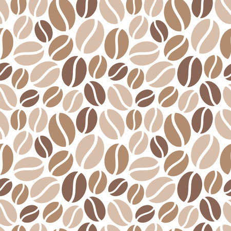Coffee beans seamless vector pattern. Simple flat design. Shades of brown on white backdrop. Vettoriali