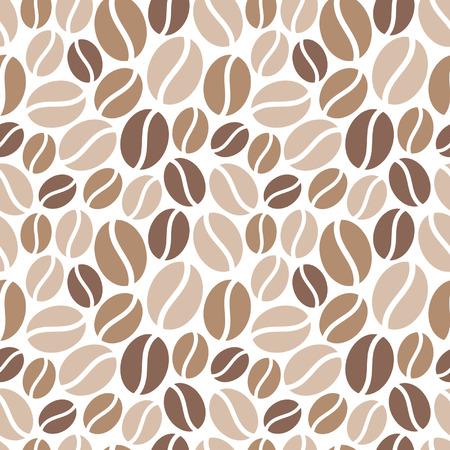 Kaffeebohnen nahtlose Vektor-Muster. Einfache flache Bauweise. Brauntönen auf weißem Hintergrund. Standard-Bild - 40222827