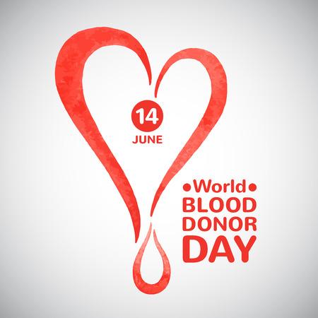 世界血液ドナー日ベクター イラスト。ドロップ日付とタイポ グラフィックの構成と様式化された水彩心。血寄付のシンボル。  イラスト・ベクター素材