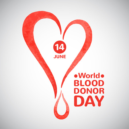 donating: World blood donor day vector illustration. Stylized watercolor heart with drop date and typographic composition. Blood donation symbol.