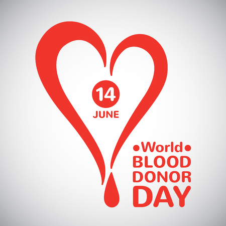World blood donor day illustration. Stylized heart with drop date and typographic composition. Blood donation symbol. Vector