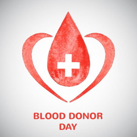Blood donor day concept illustration. Watercolor vector drop with cross and stylized heart. Vector