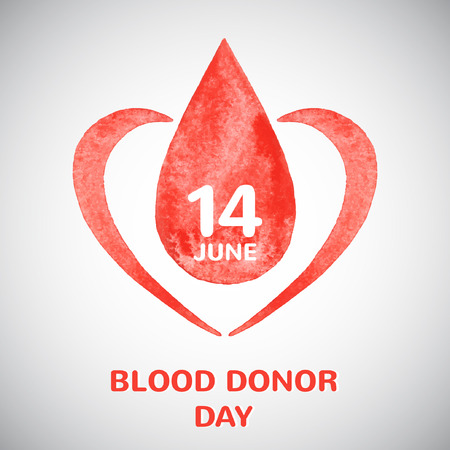 Blood donor day concept illustration. Watercolor vector drop with date and stylized heart. Vector