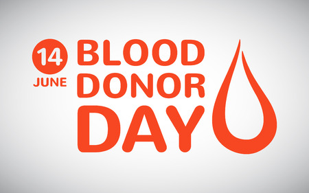World blood donor day illustration. Typographic composition with date and stylized drop of blood. Vector