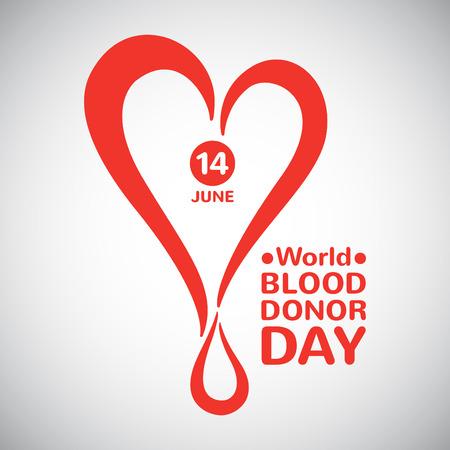 世界血液ドナー日イラスト。ドロップ日付とタイポ グラフィックの構成と様式化された心。血寄付のシンボル。  イラスト・ベクター素材