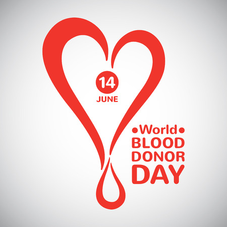 donation: World blood donor day illustration. Stylized heart with drop date and typographic composition. Blood donation symbol.