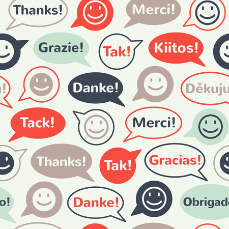 Colorful speech bubbles with smiles and thank you in different languages. Seamless vector pattern. Flat design. Vector