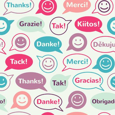 Burbujas coloridas del discurso con sonrisas y gracias en diferentes idiomas. Modelo inconsútil del vector. Diseño plano. Foto de archivo - 40951491