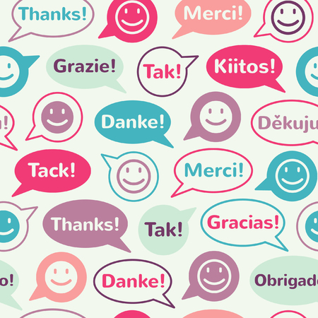 spanish language: Colorful speech bubbles with smiles and thank you in different languages. Seamless vector pattern. Flat design.