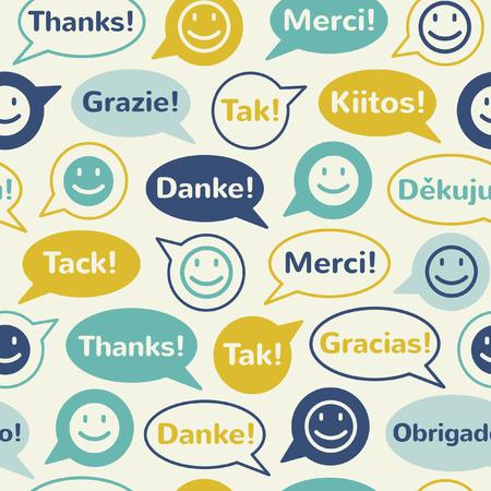 カラフルな吹き出し笑顔と異なる言語でありがとうございます。シームレス パターン。フラットなデザイン。  イラスト・ベクター素材