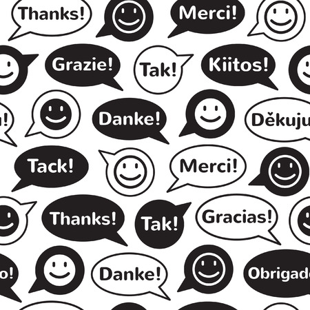 Black and white speech bubbles with smiles and thank you in different languages. Seamless vector pattern. Flat design.