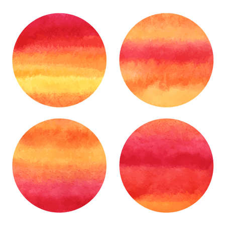 fantastical: Set of round vector watercolor backgrounds. Circle shape. Striped gradient fill  orange pink yellow. Hand drawn texture. Flame sunset colors.