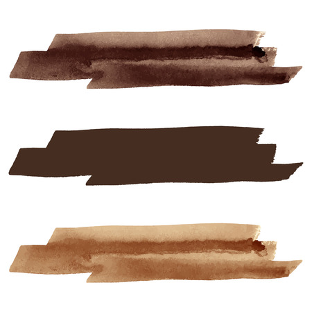 Watercolor vector brush strokes. Coffee colors brown silhouette. Banner template. Text background. Vector