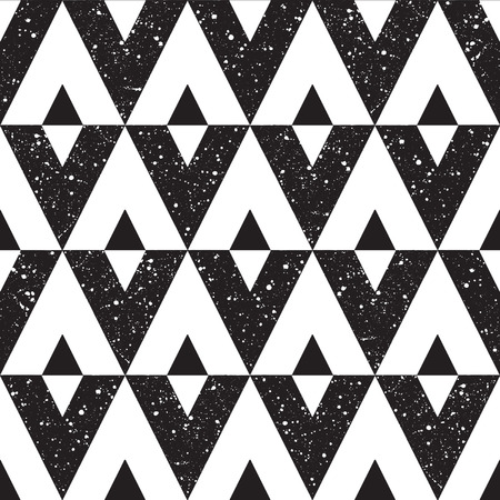 sputter: Black and white triangles seamless vector pattern. Night sky with stars. Cosmic geometrical background. Monochrome hand drawn splash texture. White spots on black. Illustration