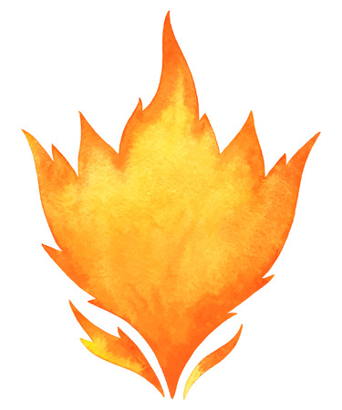 conflagration: Watercolor vector fire. Tongues of flame with space for text. Hand drawn burning bonfire silhouette with sparks. Illustration