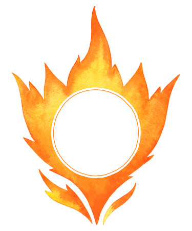 conflagration: Watercolor vector fire frame. Tongues of flame with space for text. Hand drawn burning bonfire silhouette with sparks. Illustration