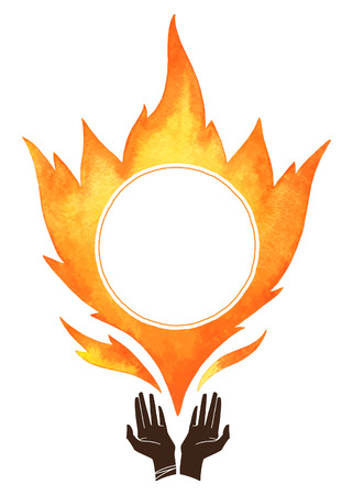 conflagration: Watercolor vector fire with cupped hands silhouette. Tongues of flame with space for text. Hand drawn burning fire silhouette. Design element. Illustration
