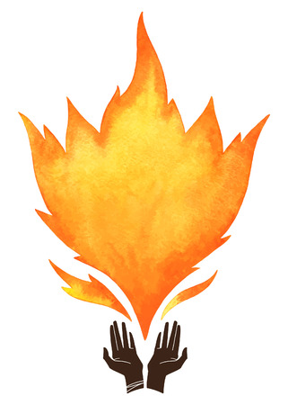 Watercolor vector fire with cupped hands silhouette. Tongues of flame with space for text. Hand drawn burning fire silhouette. Design element.