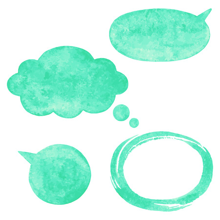 sticker vector: Mint green watercolor vector speech bubbles cloud and oval brush stroke frame with rough artistic edges