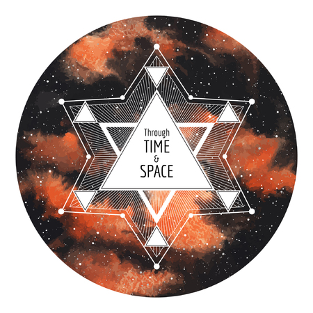 big star: Sci-fi, cosmic round illustration. Watercolor night sky with stars background with geometrical big star made of triangles and lines. Circle shape. Through time and space typographical composition. Illustration