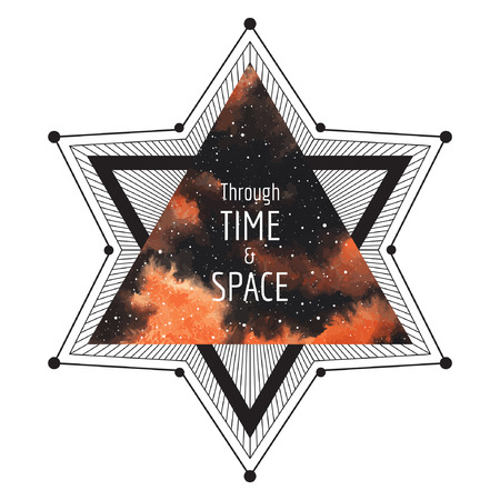 brush paint: Sci-fi print design. Cosmic illustration. Geometrical star made of triangles and lines. Watercolor vector surreal night sky triangle background. Through time and space typographical composition.