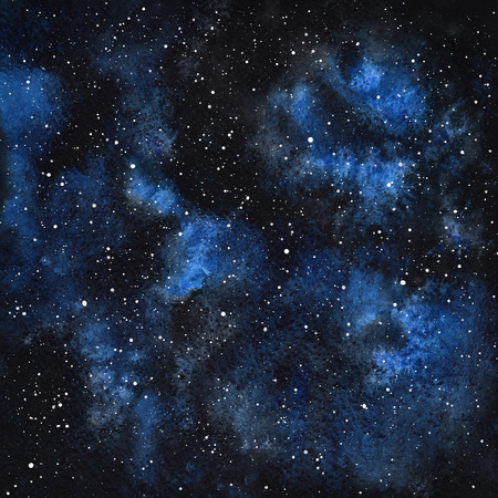 Hand drawn watercolor night sky with stars. Cosmic background. Splash texture. Black and blue stains.