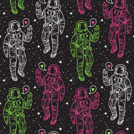 Cosmic background. Astronaut with heart and stars seamless vector pattern. Spacesuit with raised hand in salute. Speech bubble with heart.