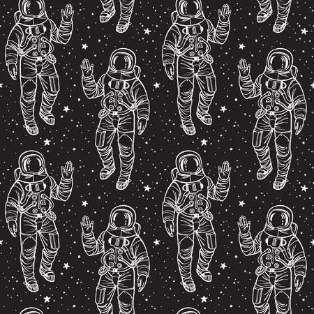 spacesuit: Monochrome cosmic seamless vector pattern. Astronaut in spacesuit with raised hand in salute surrounded by stars. White stroke on black backdrop. Illustration