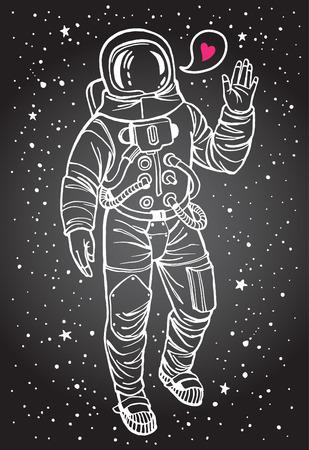 astronauta: Astronauta con el corazón. Traje espacial con la mano levantada en señal de saludo. Bocadillo con pequeño corazón rosado. Dibujado a mano ilustración. Trazo blanco.