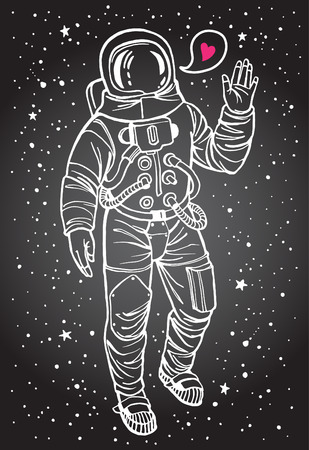 Astronaut with heart. Spacesuit with raised hand in salute. Speech bubble with tiny pink heart. Hand drawn illustration. White stroke. Illustration
