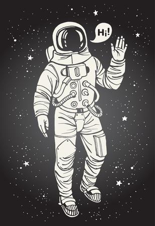 Astronaut im Raumanzug mit erhobener Hand zum Gruß. Sprechblase mit Gruß. Tinte gezeichnete Illustration.