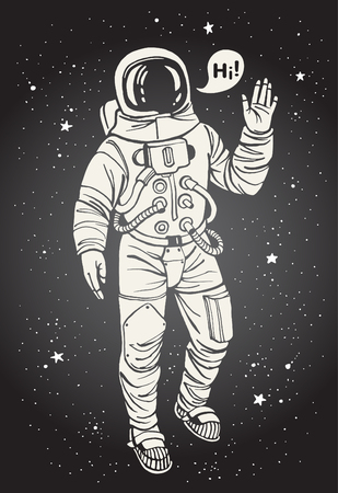 astronauts: Astronaut in spacesuit with raised hand in salute. Speech bubble with greeting. Ink drawn illustration.