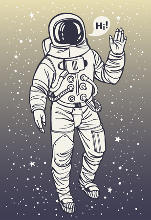Astronaut in spacesuit raises hand in salute. Speech bubble with greeting. Ink drawn illustration.
