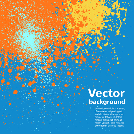 sputter: Abstract vector background. Colorful blots and splashes. Hand drawn template. Blue, yellow, orange.